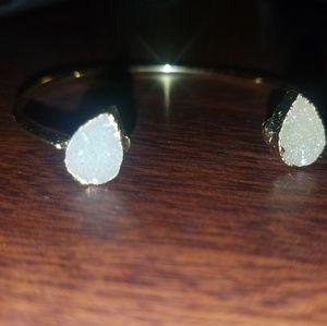 Druzy quartz bracelet gold plated